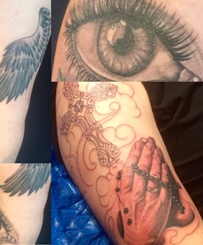 eye tattoo, praying hand tattoo, cross tattoo, wing tattoo